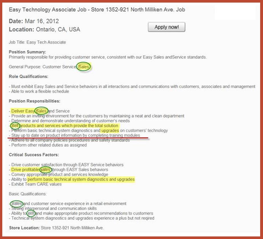 Staples Job Description